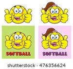 softball cartoon characters... | Shutterstock .eps vector #476356624