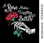hand skeleton with flower.... | Shutterstock .eps vector #476366113