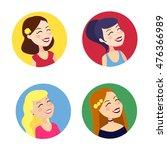 vector icons of cheerful women | Shutterstock .eps vector #476366989