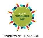 stylish text for happy teacher... | Shutterstock .eps vector #476373058