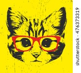 portrait of cat with glasses.... | Shutterstock .eps vector #476373319