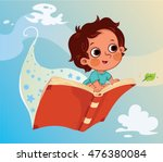 little boy flying on a book. ...