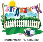 Washing Line And Clothes.
