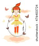cute girl with rope. vector... | Shutterstock .eps vector #476403724