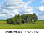 summer landscape with horizont meadow - stock photo