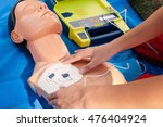 Small photo of Administering defibrillator on CPR doll