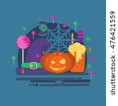 halloween party concept in flat ...   Shutterstock .eps vector #476421559