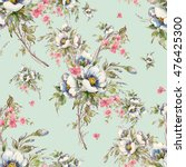 Stock photo watercolor seamless pattern bouquet of wildflowers beautiful pattern for decoration and design 476425300