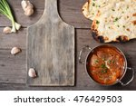 indian naan bread with curry... | Shutterstock . vector #476429503
