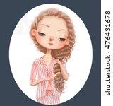 cute cartoon girl with long... | Shutterstock . vector #476431678