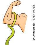 illustration of a man flexing...   Shutterstock .eps vector #476449786