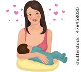 young mother with a nursing... | Shutterstock .eps vector #476458030