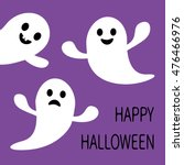 funny flying ghost. smiling and ... | Shutterstock . vector #476466976
