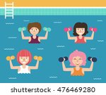 girls gymnastics in the pool.... | Shutterstock .eps vector #476469280