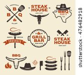 set of barbecue steak house... | Shutterstock .eps vector #476482918