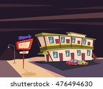 motel in the desert. old... | Shutterstock .eps vector #476494630
