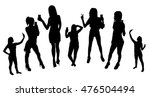 girl silhouettes taking selfie... | Shutterstock .eps vector #476504494