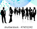 Illustration of business people and abstract - stock vector