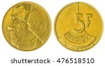 Small photo of Aluminum Bronze 5 francs 1993 coin isolated on white background, Belgium