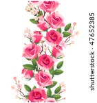 vertical seamless rose pattern | Shutterstock .eps vector #47652385