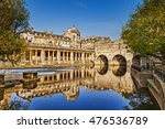 Small photo of Pulteney Bridge and Weir on the River Avon in the historic city of Bath in Somerset, England.