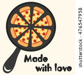 pan with pieces of pizza.... | Shutterstock .eps vector #476547958
