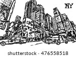 ny city  sketch  black and white | Shutterstock .eps vector #476558518