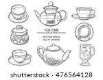 glass tea set sketch   Shutterstock .eps vector #476564128