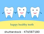three funny healthy teeth | Shutterstock .eps vector #476587180