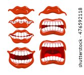 lips set of emotions. shouts... | Shutterstock .eps vector #476592118