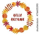 hello autumn watercolor wreath... | Shutterstock . vector #476605390