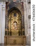 Small photo of CUENCA, SPAIN - August 24, 2016: Interior of the Cathedral of Cuenca, St. Barbara's Chapel, situated behind the main Chapel and open to the ambulatory at the side of the Gospel, Cuenca, Spain