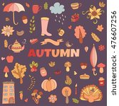 vector autumn doodles card.... | Shutterstock .eps vector #476607256