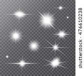 set of white glowing light... | Shutterstock .eps vector #476610238