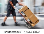 delivery goods with dolly by... | Shutterstock . vector #476611360