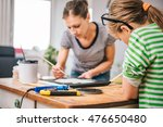 mother and daughter together... | Shutterstock . vector #476650480