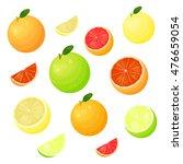 different grapefruit varieties... | Shutterstock .eps vector #476659054