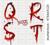 vector blood alphabet is... | Shutterstock .eps vector #476665120
