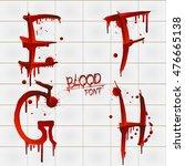 vector blood alphabet is... | Shutterstock .eps vector #476665138