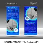 blue roll up banner template... | Shutterstock .eps vector #476667334