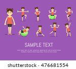 smiling young girl doing... | Shutterstock .eps vector #476681554