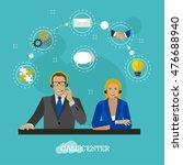 male and female operators in... | Shutterstock . vector #476688940