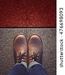 shoes standing behind the red... | Shutterstock . vector #476698093
