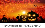 halloween pumpkin autumn leaves ... | Shutterstock .eps vector #476737840