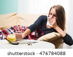sick woman with red nose lying... | Shutterstock . vector #476784088