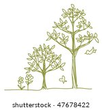 two line drawn trees | Shutterstock .eps vector #47678422