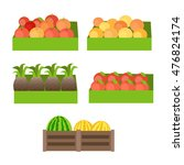 Set Of Boxes With Fruits.  In...