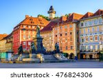 painted facades and the clock... | Shutterstock . vector #476824306