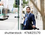 young businessmen with a bike | Shutterstock . vector #476825170