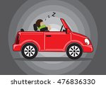 young man sleep car cartoon | Shutterstock .eps vector #476836330
